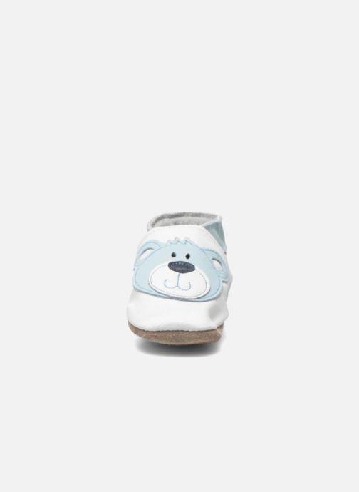 Pantofole Inch Blue Teddy Blue Bianco modello indossato