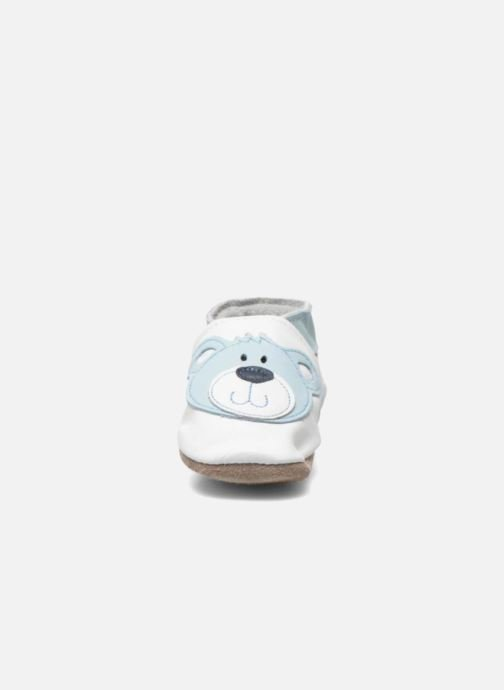 Slippers Inch Blue Teddy Blue White model view