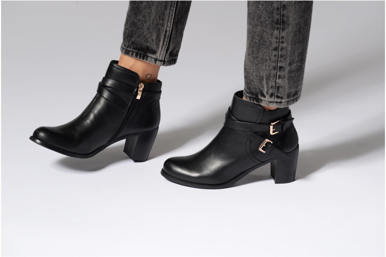 Bottines et boots Divine Factory Elisa Noir vue bas / vue portée sac