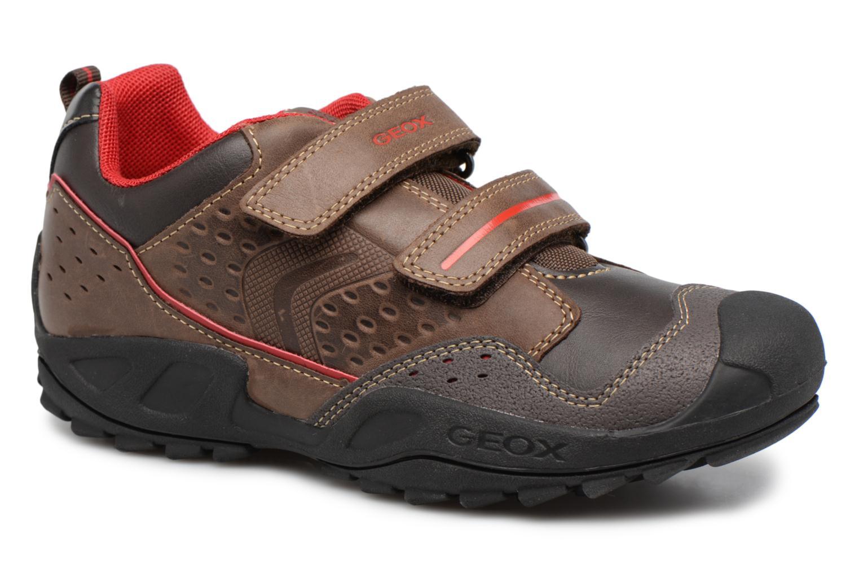 Chaussures à scratch Geox J N.Savage B.A J641VA Marron vue détail/paire