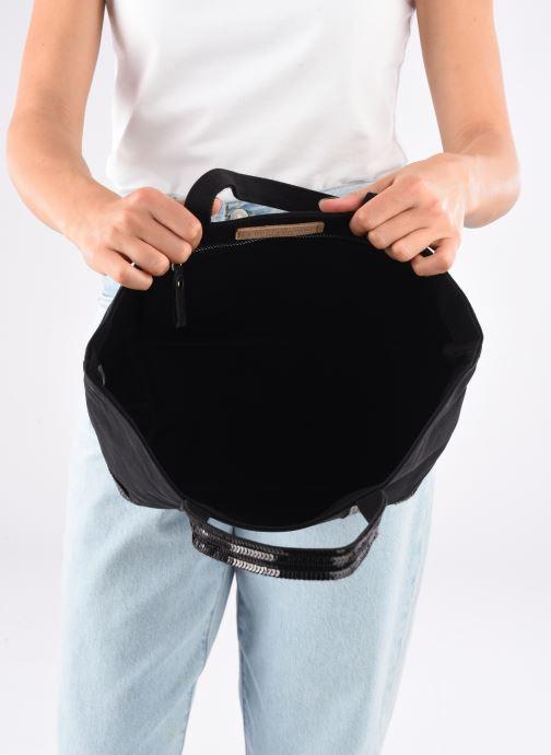Sacs à main Vanessa Bruno Cabas M En Toile Coton Et Paillettes Noir vue derrière