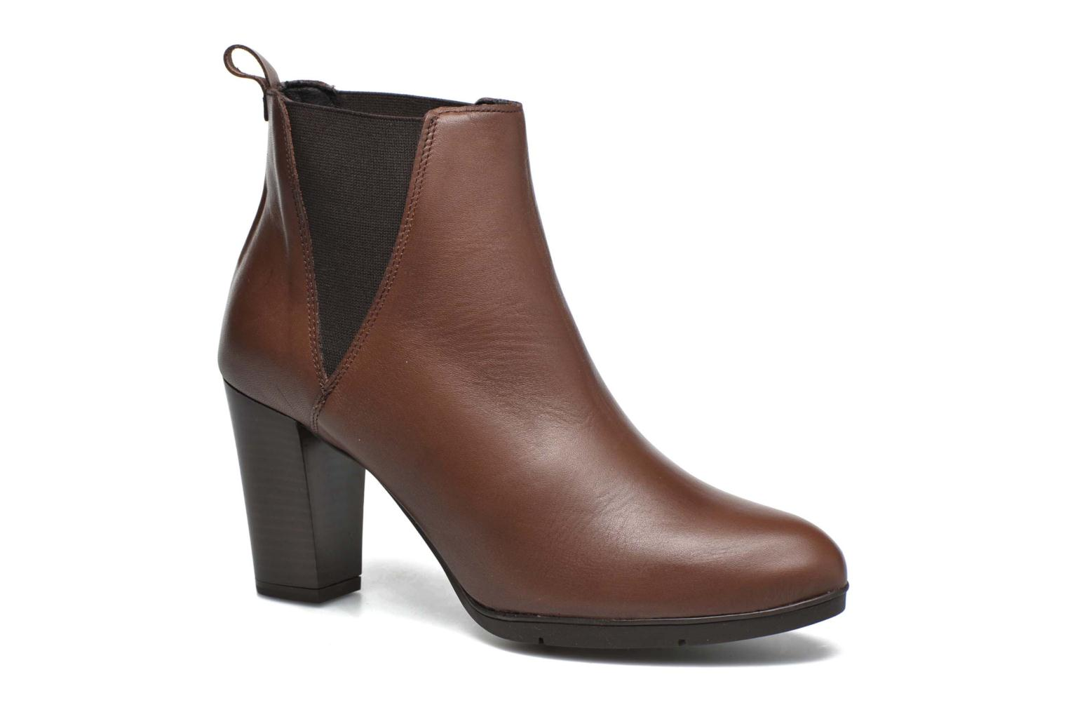 Ankle boots Karston UBAK *Veau HAVANE ~1ere.CUIR Brown detailed view/ Pair view