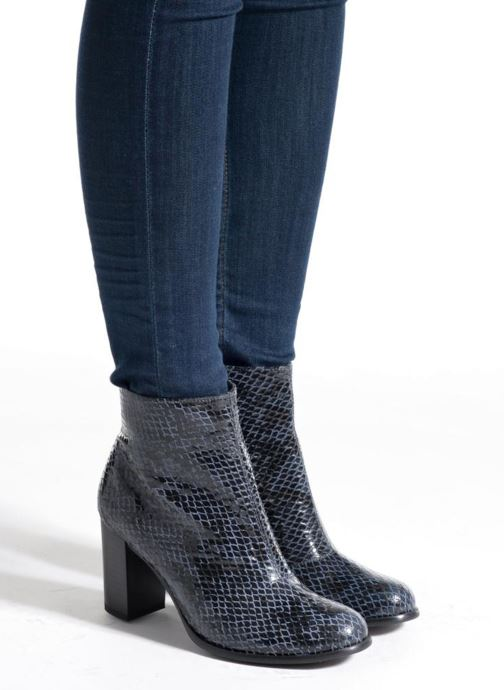 Ankle boots Karston GLAGOS #Cobra CARBONE ~Doubl & 1ere CUIR Black view from underneath / model view