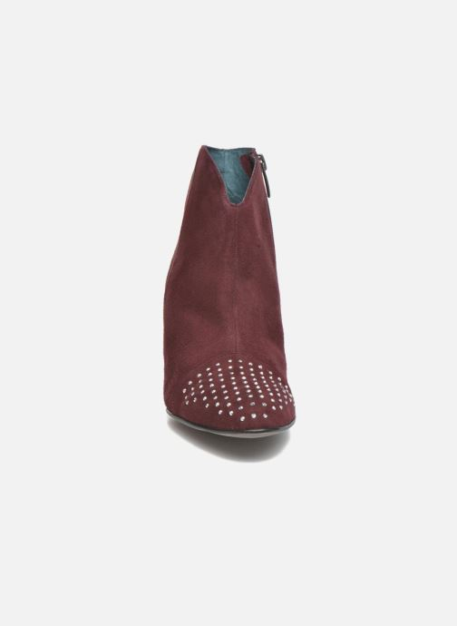 Ankle boots Karston IFLOU #Ch Velours PRUNE ~Doubl & 1ere CUIR Burgundy model view