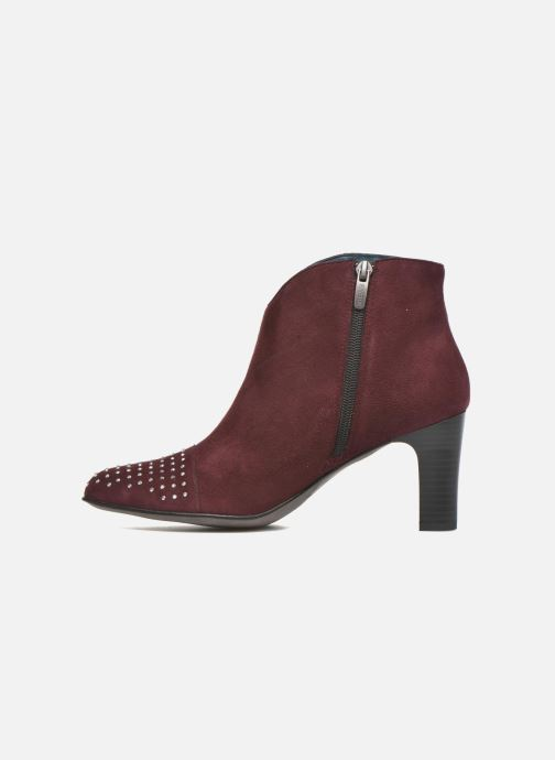 Ankle boots Karston IFLOU #Ch Velours PRUNE ~Doubl & 1ere CUIR Burgundy front view