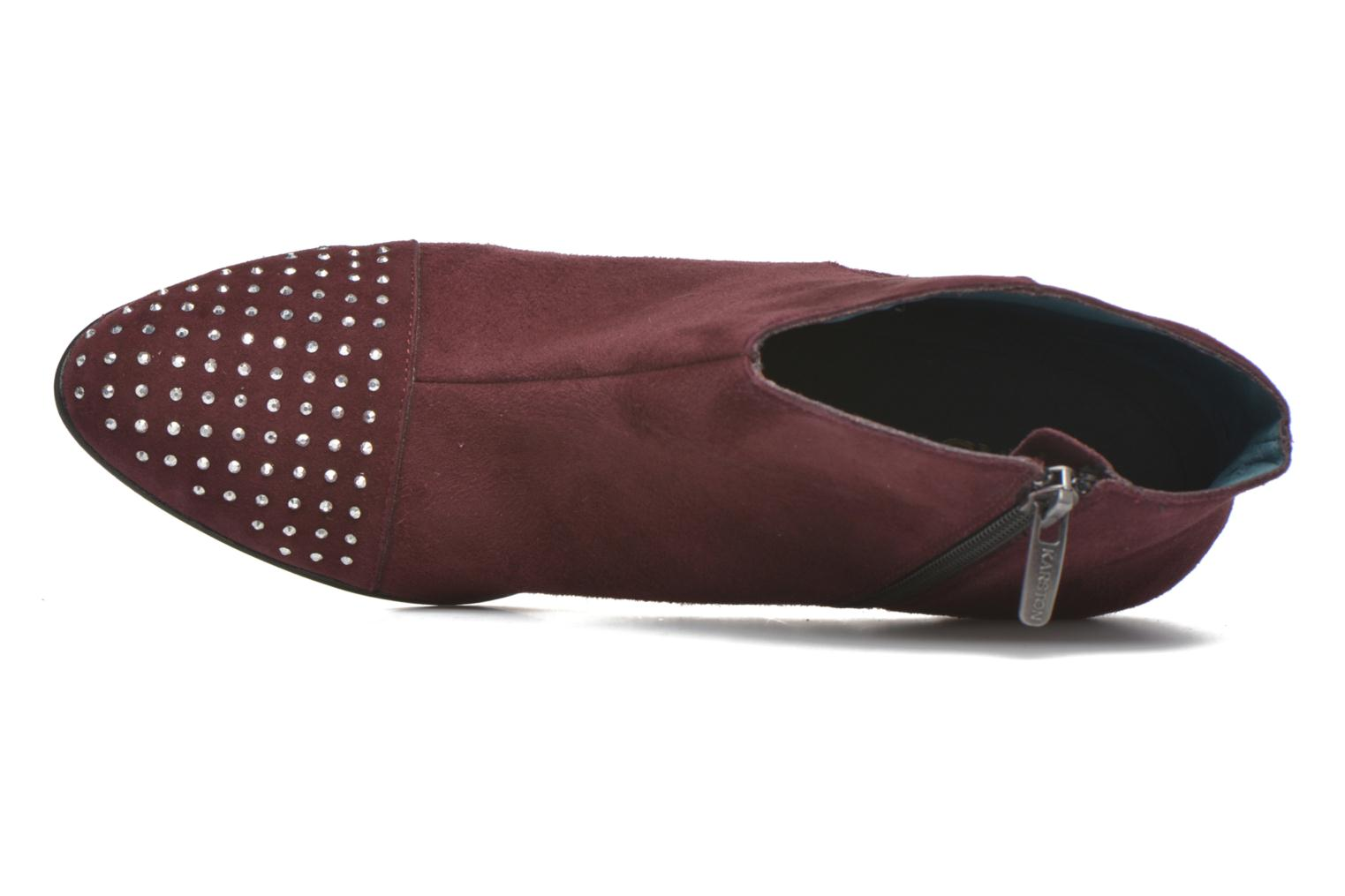 Ankle boots Karston IFLOU #Ch Velours PRUNE ~Doubl & 1ere CUIR Burgundy view from the left
