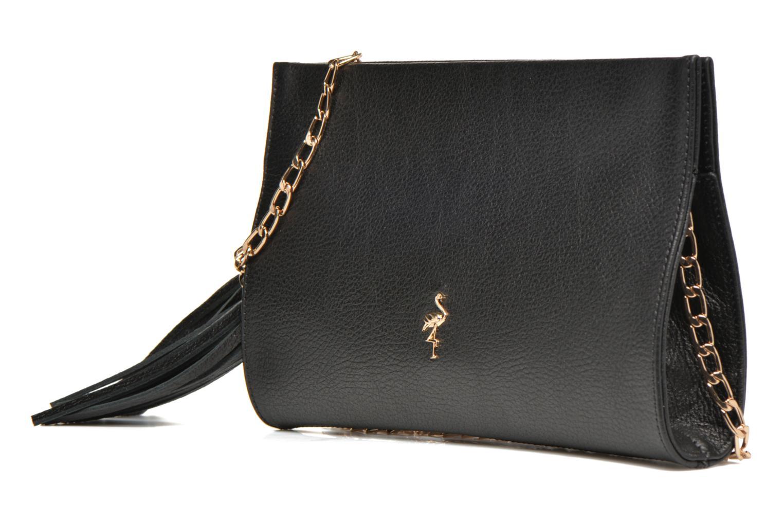 Clutch bags Menbur Pochette grainée pompon Black model view