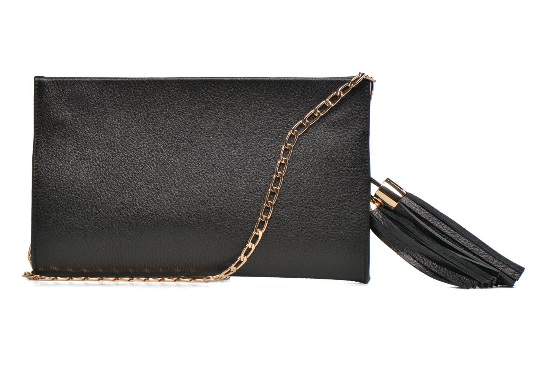 Clutch bags Menbur Pochette grainée pompon Black front view