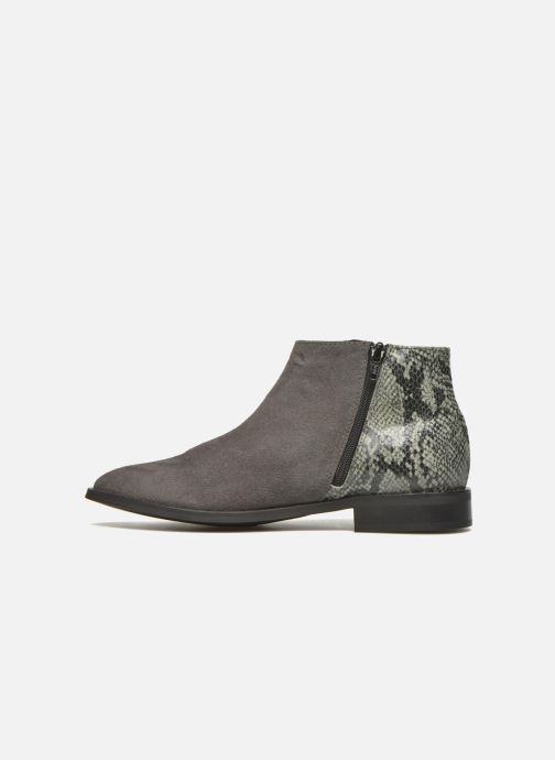 Boots en enkellaarsjes Pieces Derika Leather Boot Grijs voorkant