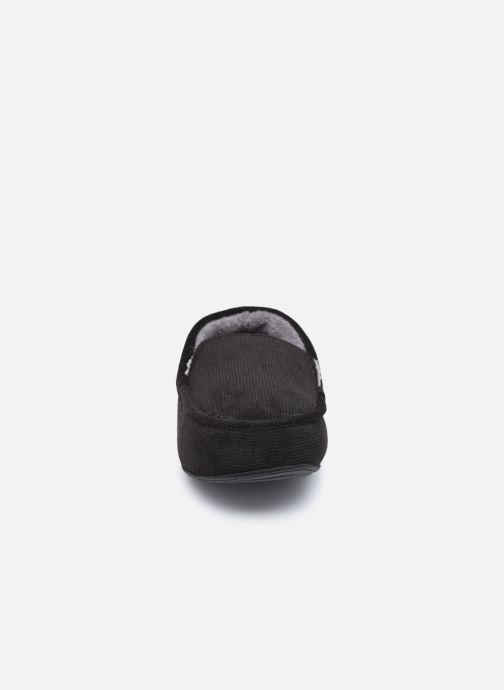Pantuflas Isotoner Mocassin velours côtelé Negro vista del modelo