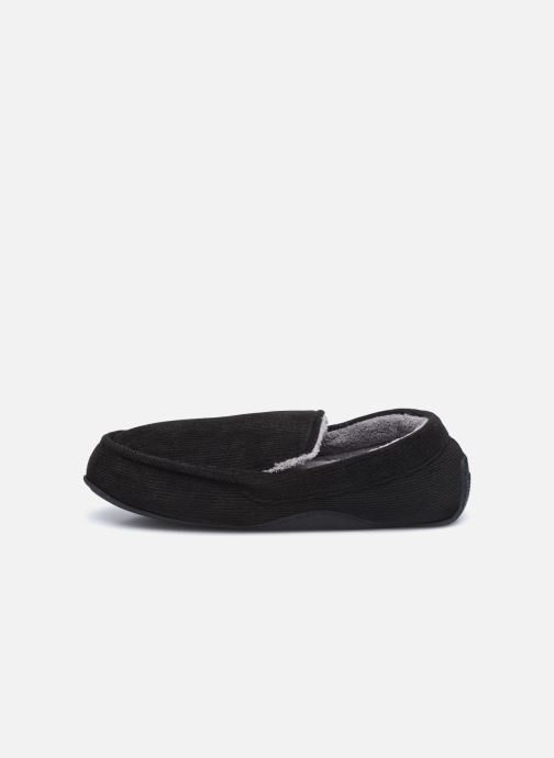 Pantuflas Isotoner Mocassin velours côtelé Negro vista de frente