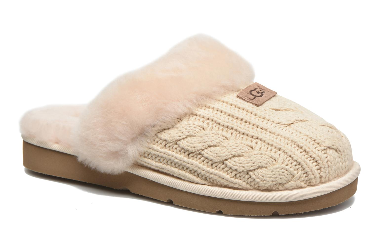 Ugg W Cozy Knit Cable White Slippers Chez Sarenza 269957