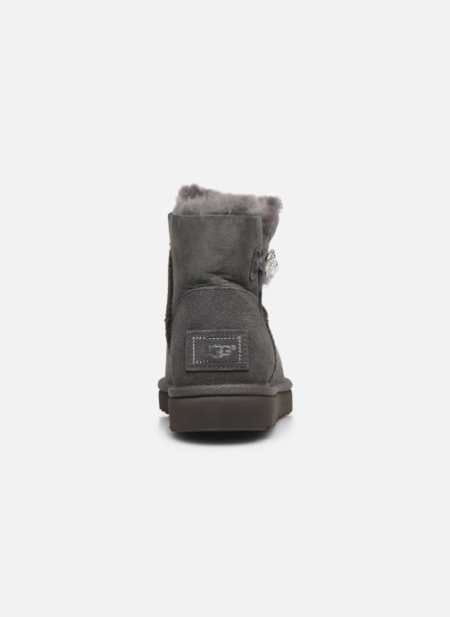 Botines  UGG W Mini Bailey Button Bling Gris vista lateral derecha