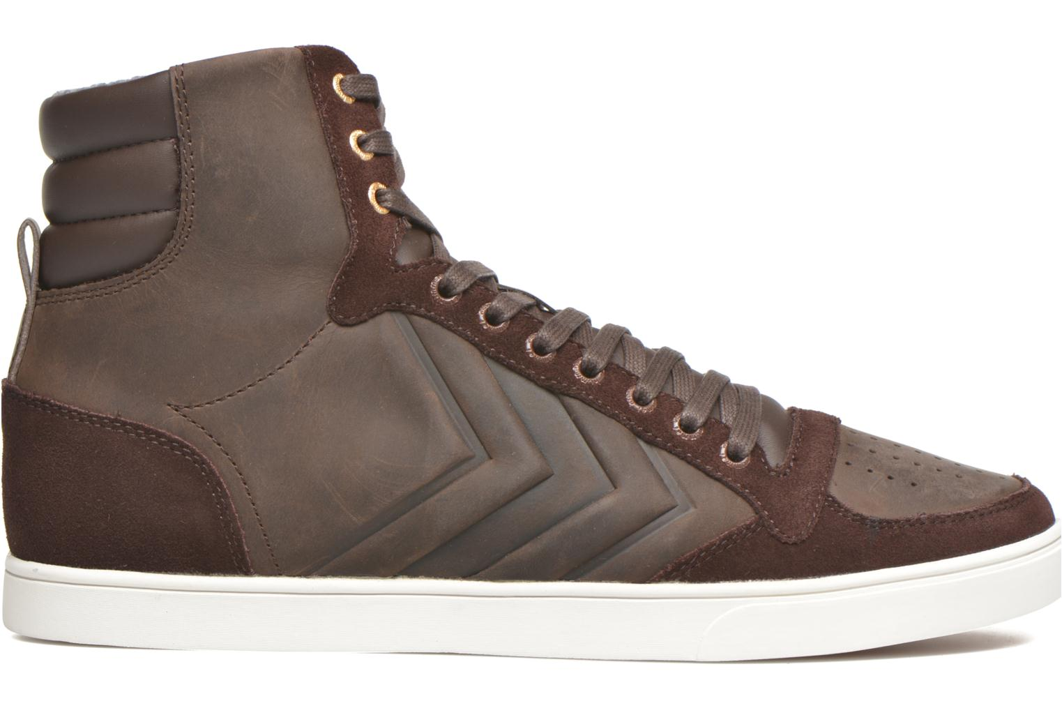 Trainers Hummel Ten Star Mono Oiled High Brown back view