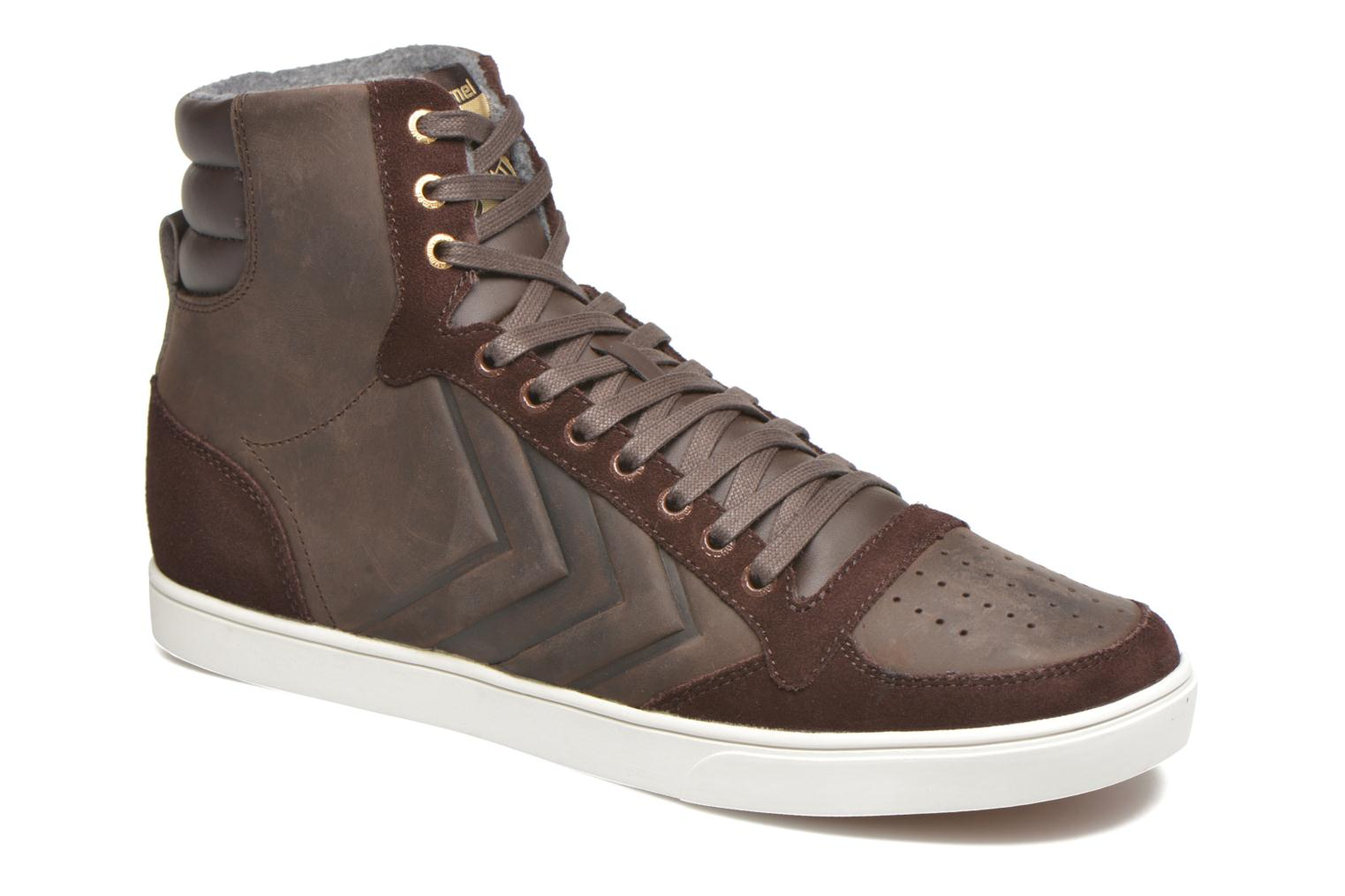 Baskets Hummel Ten Star Mono Oiled High Marron vue détail/paire