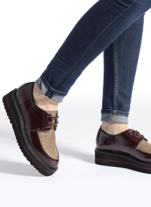 Chaussures à lacets No Name Blow Derby Crease / Skin Bordeaux vue bas / vue portée sac