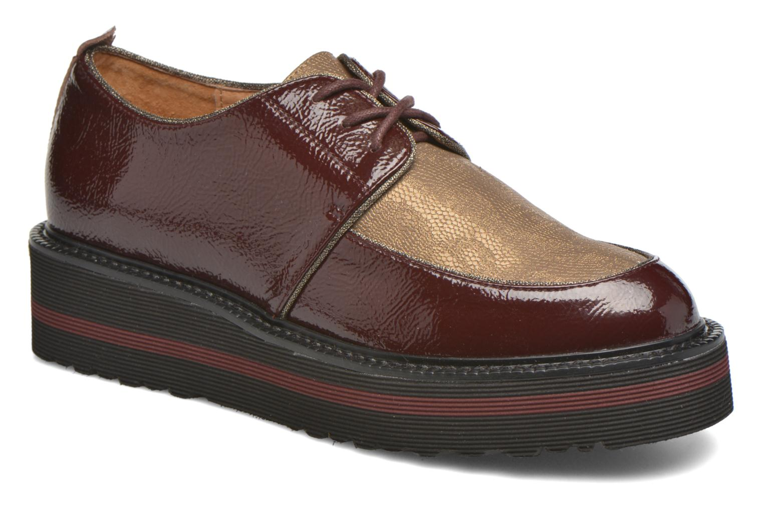 Lace-up shoes No Name Blow Derby Crease / Skin Burgundy detailed view/ Pair view