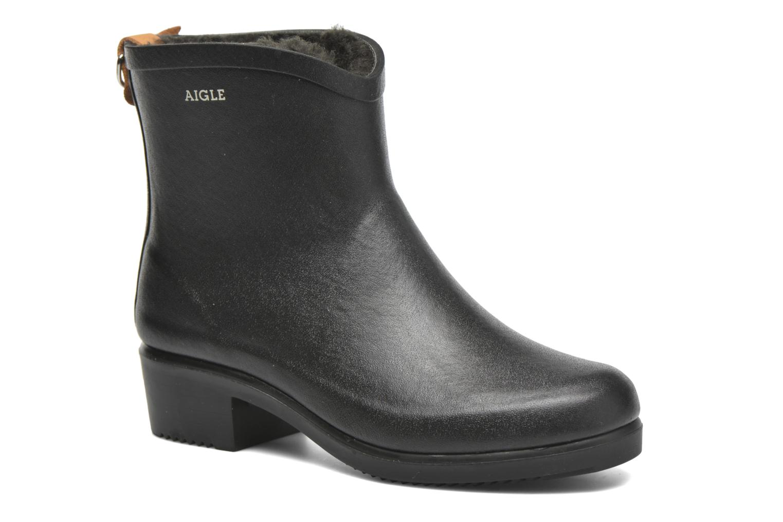 Ankle boots Aigle Miss Juliette Botillon Fur Black detailed view/ Pair view