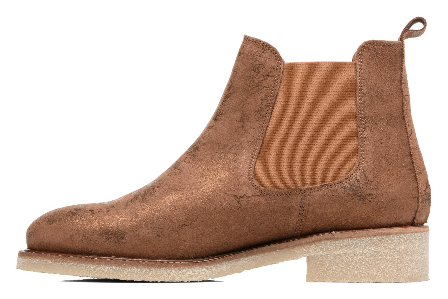 Ankle boots Bensimon Boots semelle crepe Bronze and Gold front view