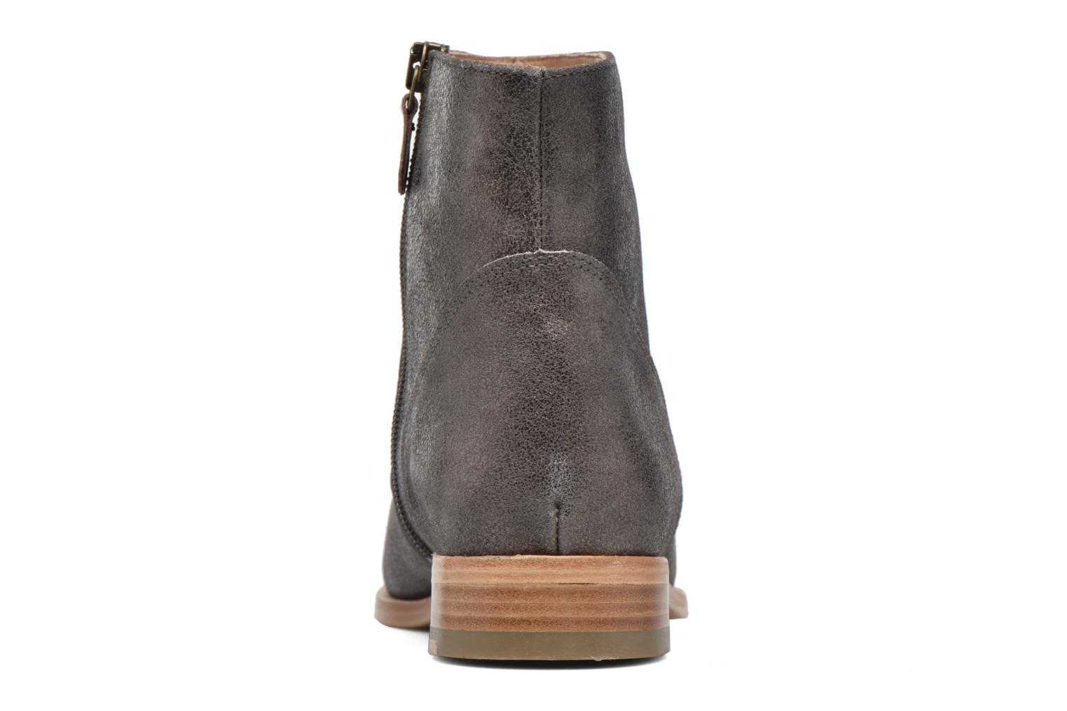 Ankle boots Bensimon Boots croute velours plate Grey view from the right