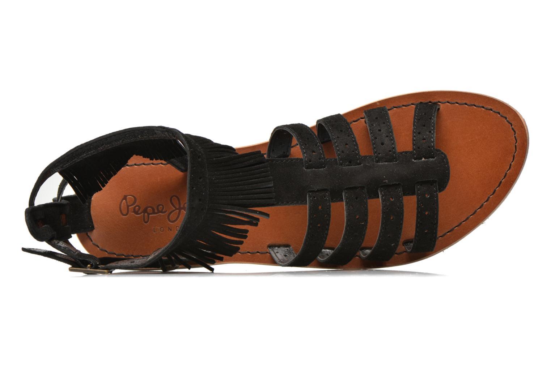 Sandalias Pepe jeans Jane fringes Negro vista lateral izquierda