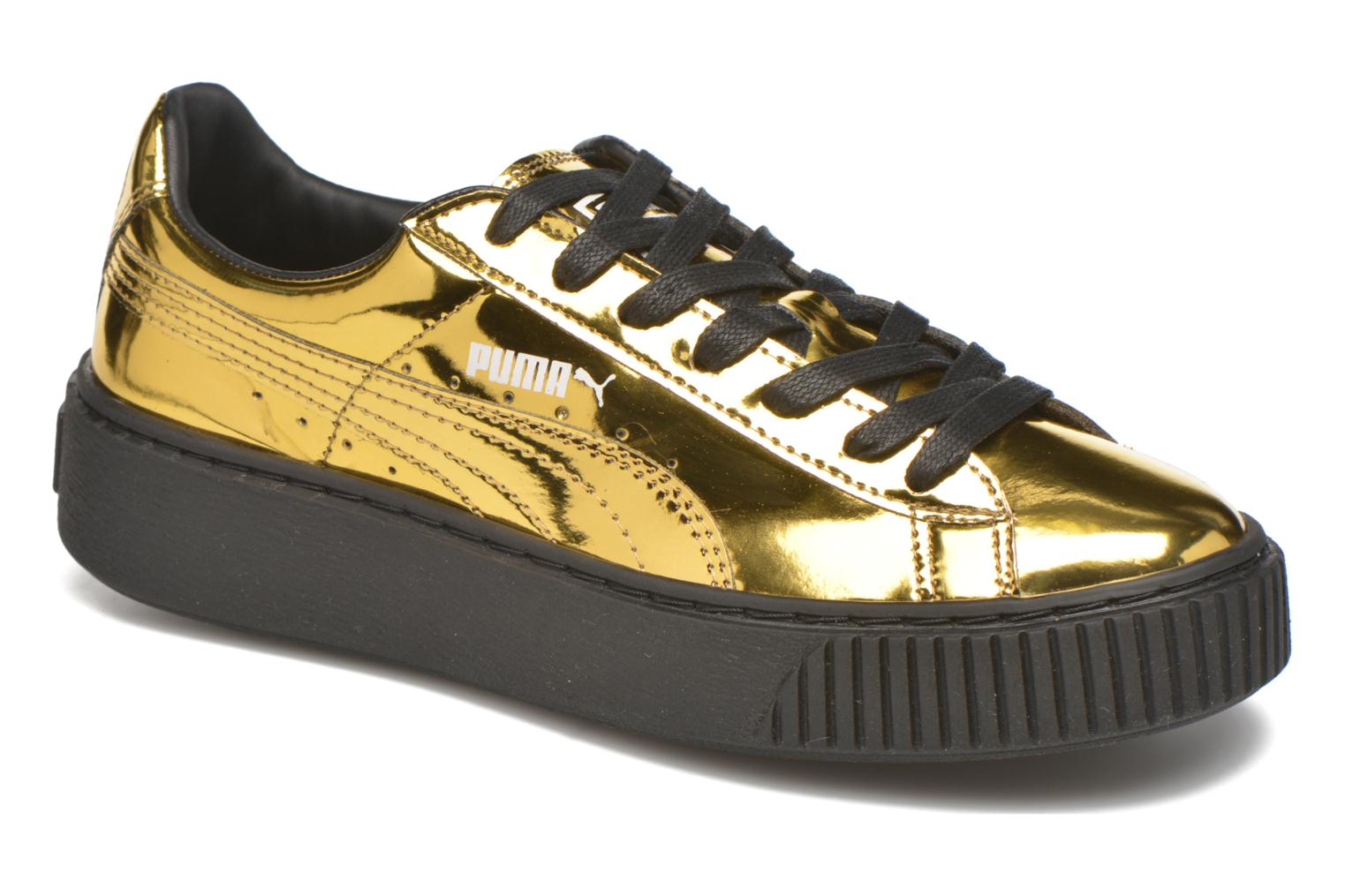 Trainers Puma Wns Basket Platform Bronze and Gold detailed view/ Pair view