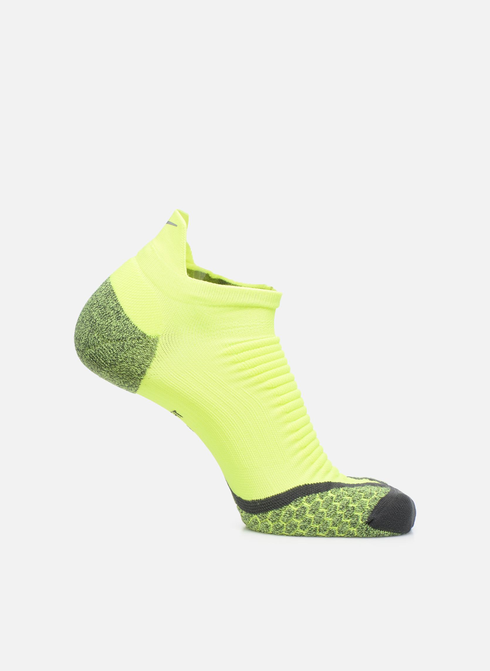 Chaussettes et collants Nike Nike Elite Cushioned No-Show Tab Running Sock Jaune vue détail/paire