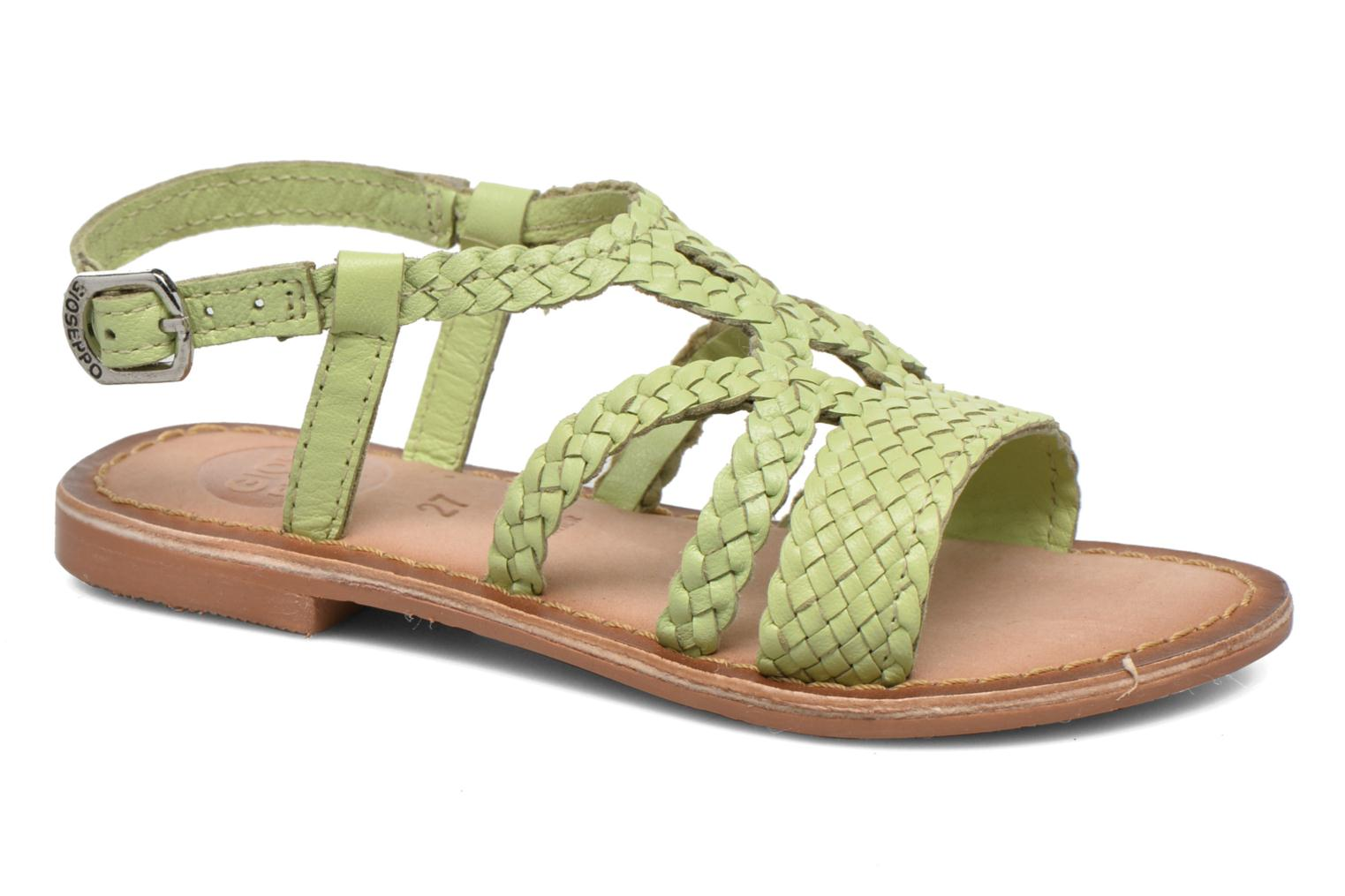 Sandals Gioseppo Jacinthe Green detailed view/ Pair view