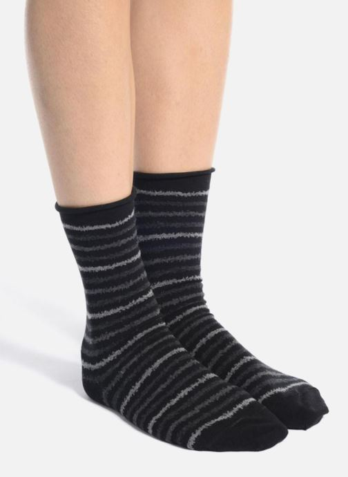 203c03dc889 Chaussettes et collants BLEUFORÊT Chaussettes coton rayures Noir vue haut