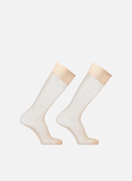 Chaussettes et collants Dim Mi-bas Beauty Resist transparent x2 Marron vue portées chaussures