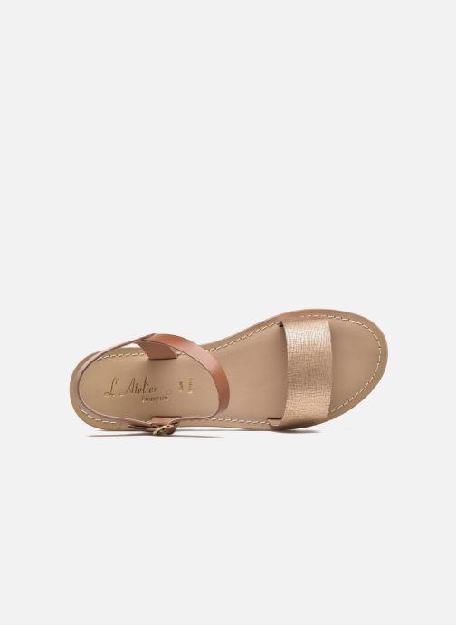 Sandales et nu-pieds L'Atelier Tropézien Guillemette Or et bronze vue gauche