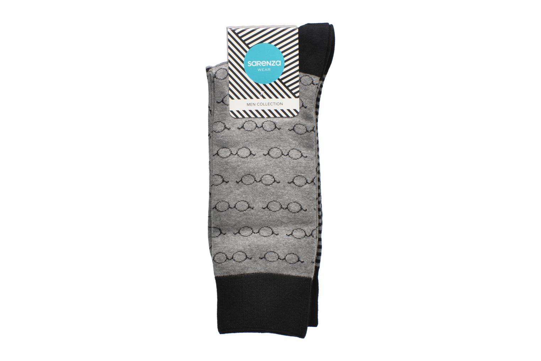 Socks & tights Sarenza Wear Chaussettes Lunettes Pack de 2 Homme coton Black back view