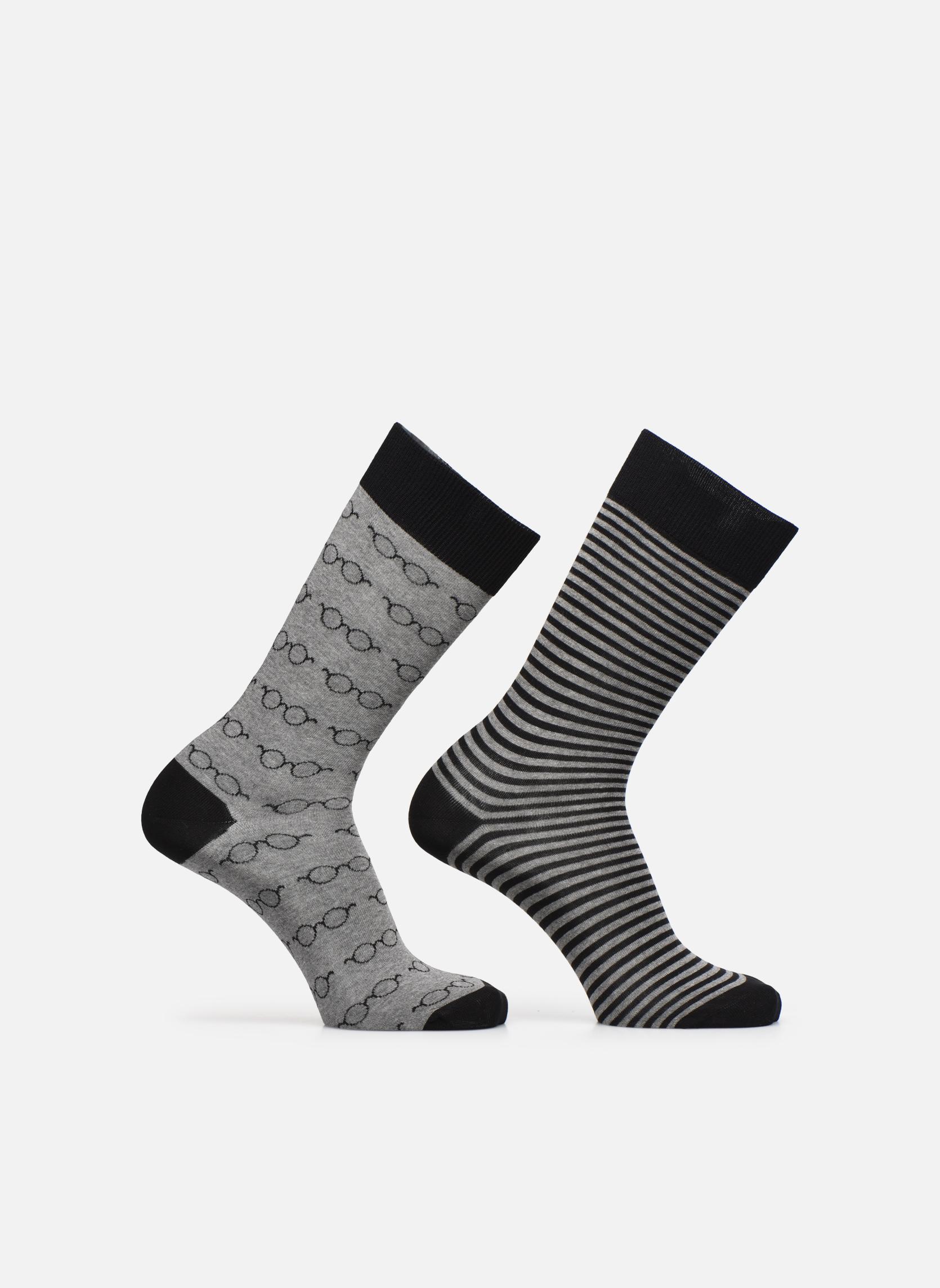 Socks & tights Sarenza Wear Chaussettes Lunettes Pack de 2 Homme coton Black detailed view/ Pair view