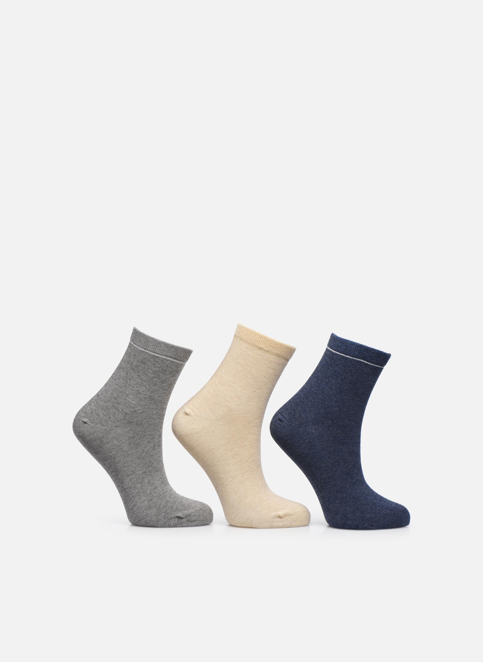 Sokken en panty's Sarenza Wear Chaussettes unies Pack de 3 femme coton Multicolor detail