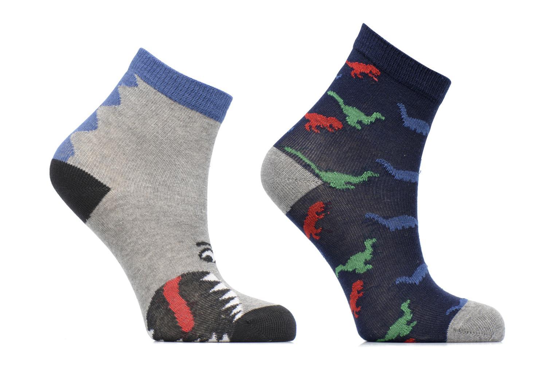 Strømper og tights Sarenza Wear Chaussettes dinosaures Pack de 2 enfant coton Blå detaljeret billede af skoene