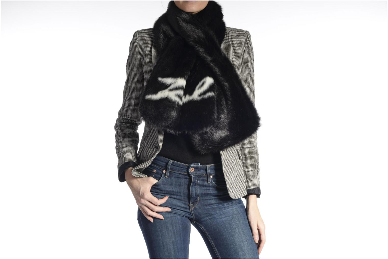 Diversos KARL LAGERFELD Holiday Fur scarf Negro vista de arriba