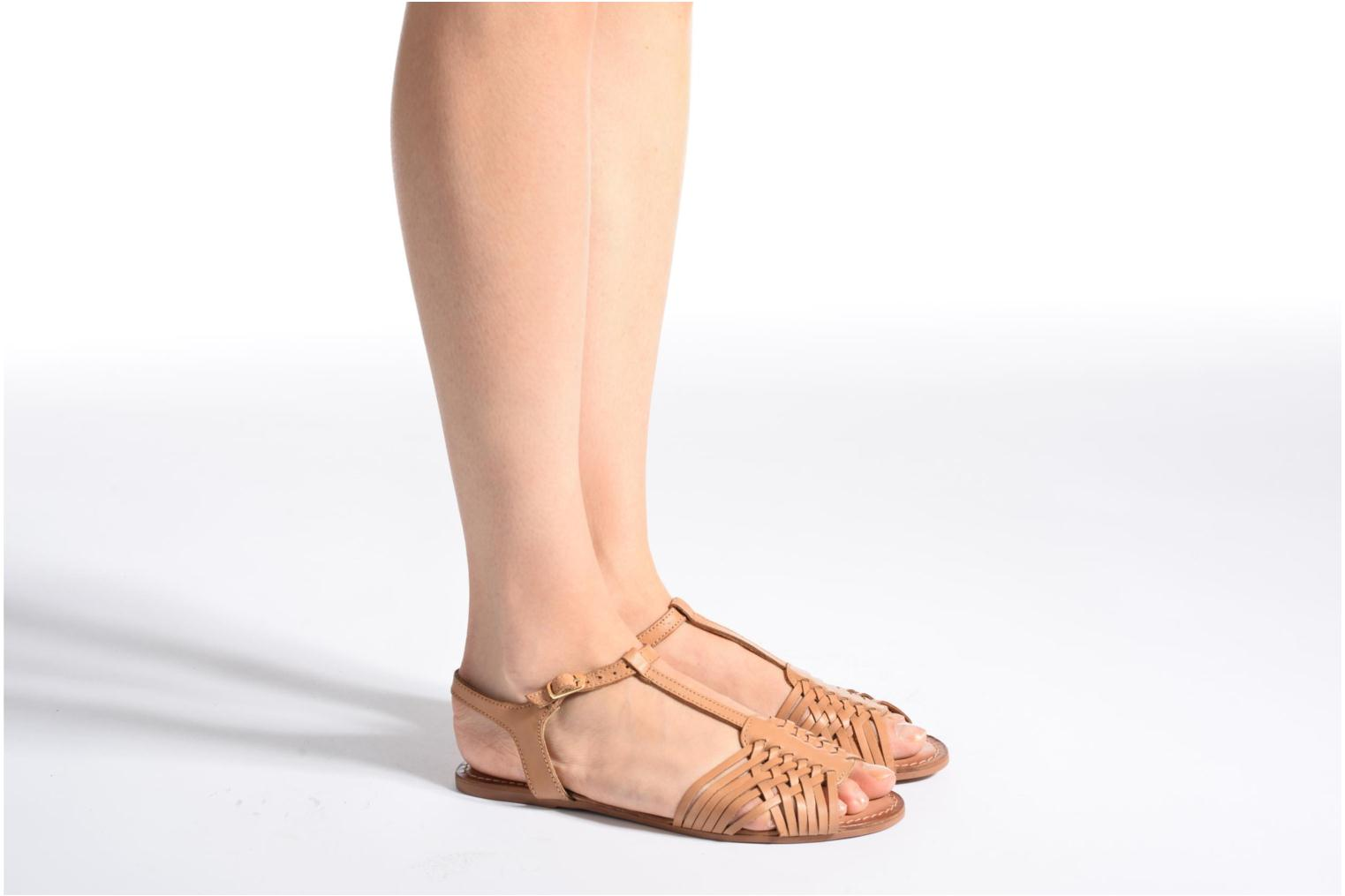 Sandals I Love Shoes KETRES Leather Brown view from underneath / model view