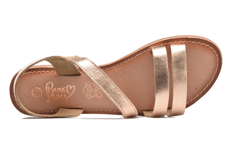 Sandales et nu-pieds I Love Shoes KEUNI Leather Or et bronze vue gauche