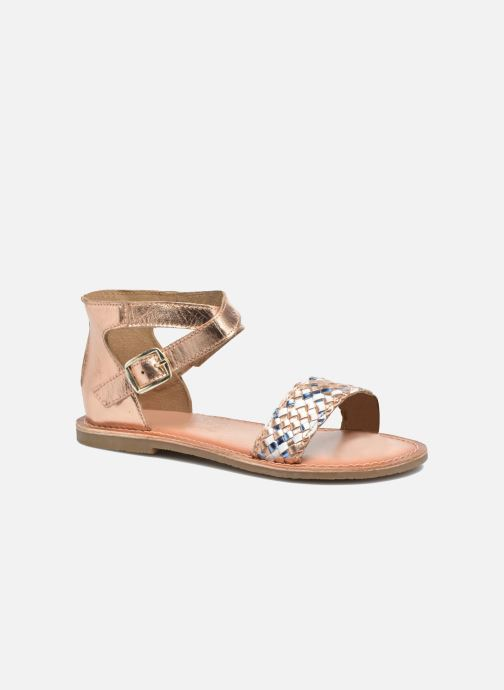 Sandals I Love Shoes KETRUSI Leather Bronze and Gold detailed view/ Pair view