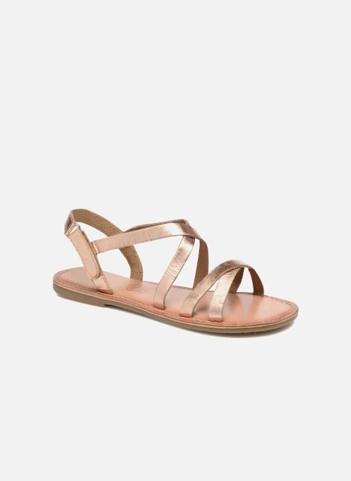 Sandals I Love Shoes KEINU Leather Bronze and Gold detailed view/ Pair view