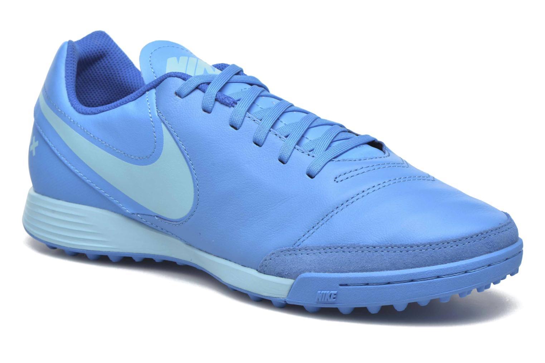 Chaussures de sport Nike Tiempox Genio II Leather Tf Bleu vue détail/paire