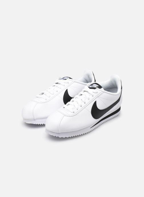 Sneaker Nike Wmns Classic Cortez Leather weiß ansicht von unten / tasche getragen