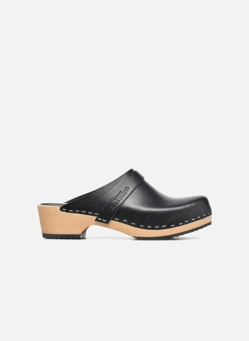 Swedish Hasbeens Leather Swedish Husband Clogs in Black