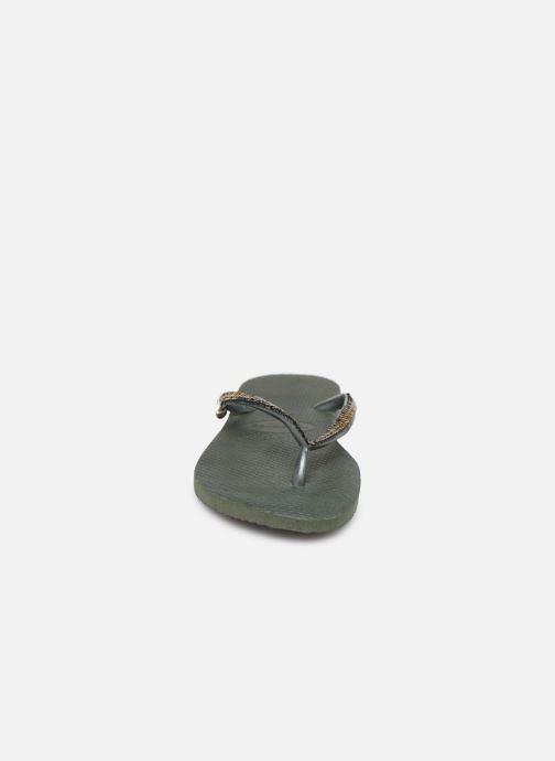 Tongs Havaianas Slim Metal Mesh Vert vue portées chaussures