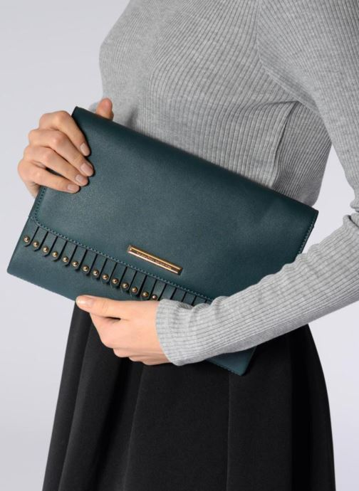 Clutch bags Dorothy Perkins Fringe Stud Clutch Blue view from underneath / model view