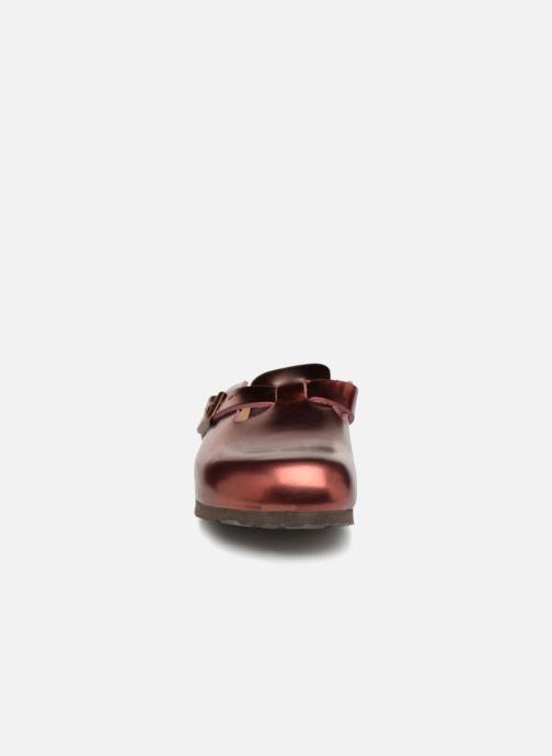 Chaussons Birkenstock Boston Sheepskin W Bordeaux vue portées chaussures