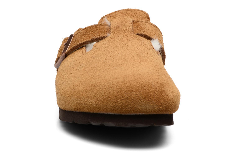 Chaussons Birkenstock Boston Sheepskin W Marron vue portées chaussures