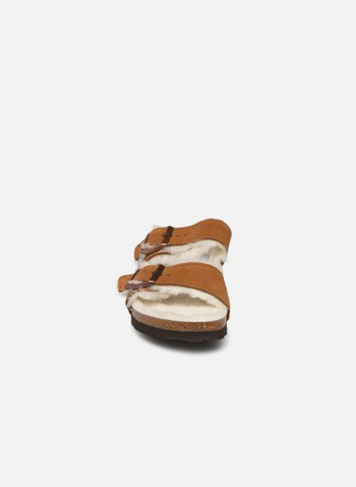 Chaussons Birkenstock Arizona Sheepskin W Marron vue portées chaussures