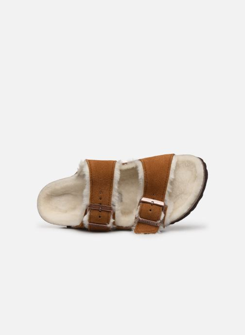 Chaussons Birkenstock Arizona Sheepskin W Marron vue gauche