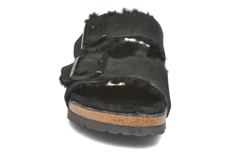 Chaussons Birkenstock Arizona Sheepskin W Noir vue portées chaussures